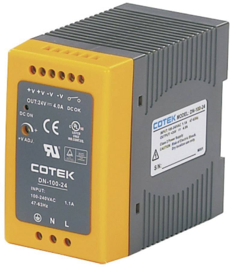 Sieťový zdroj na montážnu lištu (DIN lištu) Cotek DN 100-24, 1 x, 24 V/DC, 4 A, 96 W
