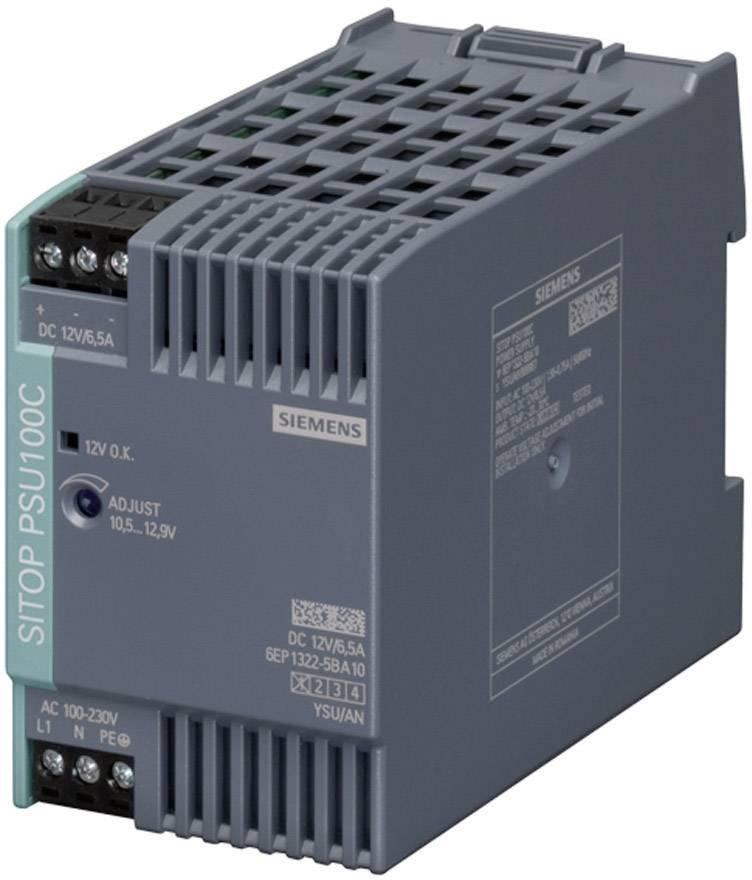 Zdroj na DIN lištu Siemens SITOP PSU100C, 12 V/DC, 6,5 A