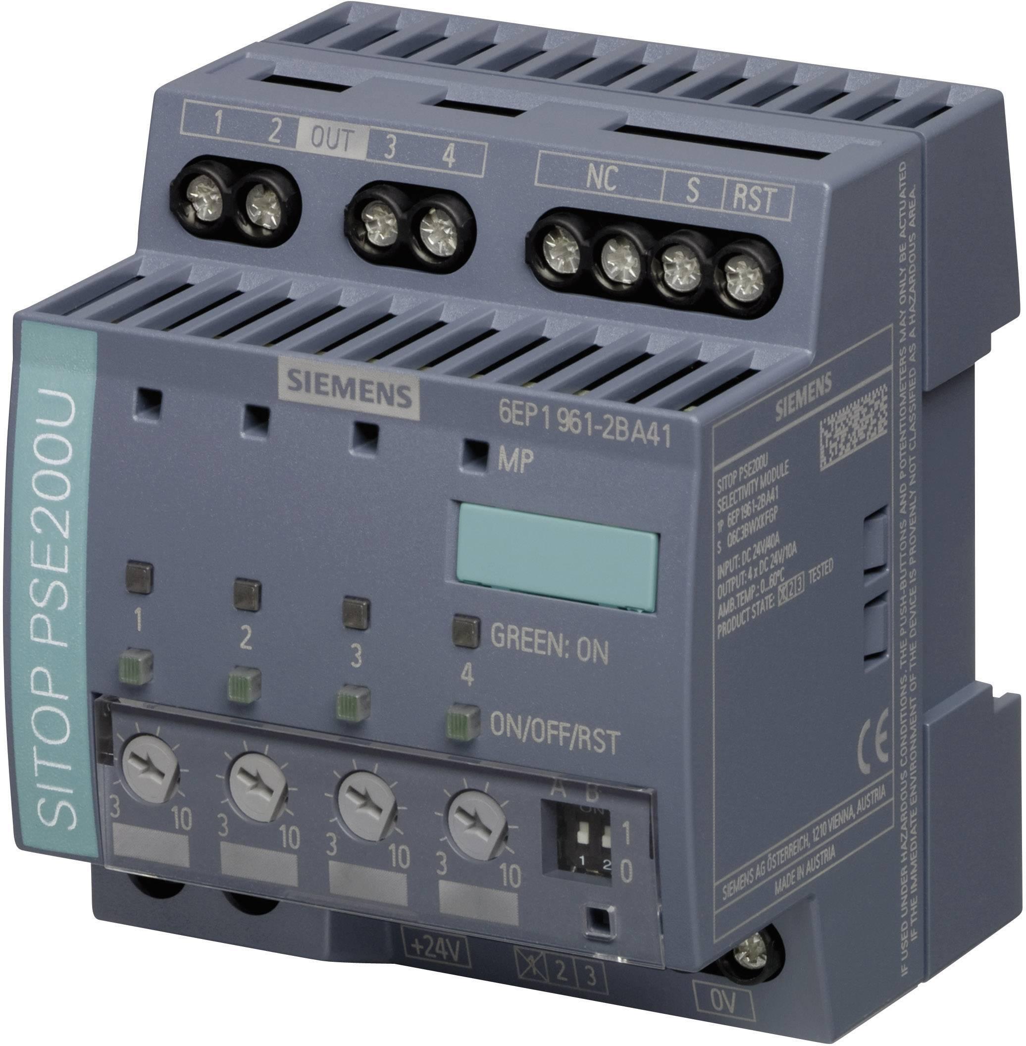 Selektivní modul Siemens SITOP PSE200U, 24 V/DC, 3-10 A, na DIN lištu