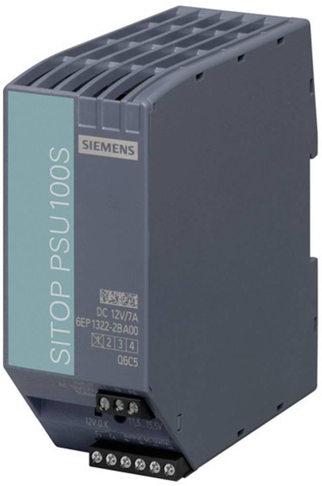 Sieťový zdroj na montážnu lištu (DIN lištu) Siemens SITOP PSU100S 12 V/7 A, 1 x, 12 V/DC, 7 A, 80 W