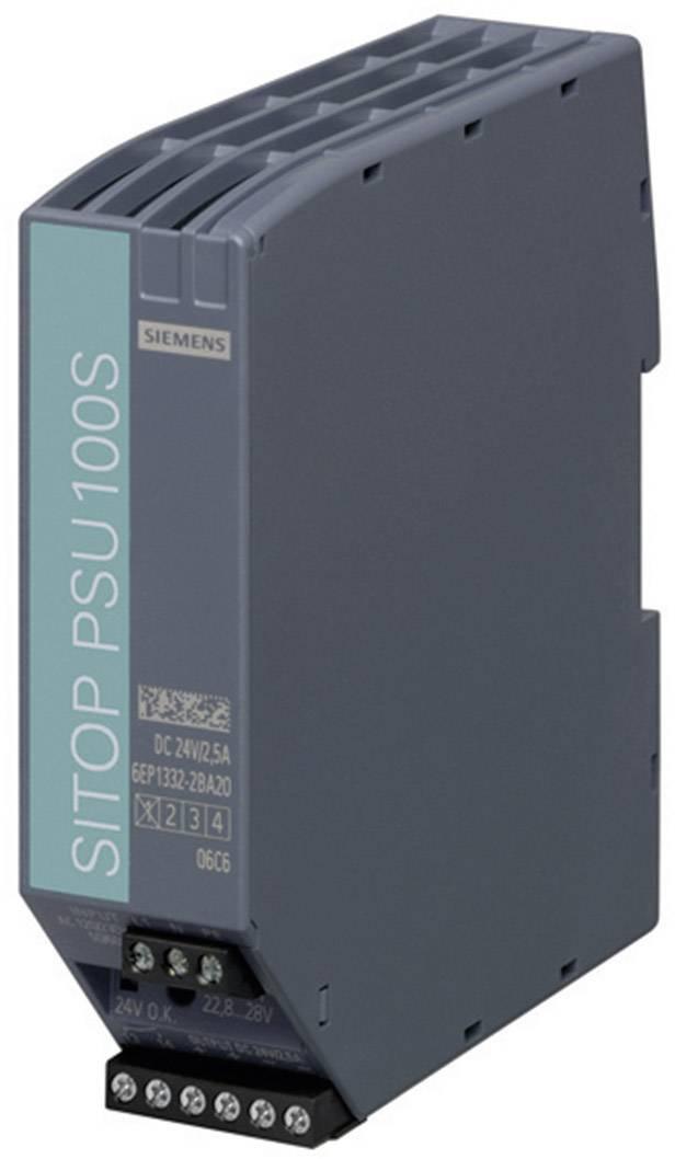 Sieťový zdroj na montážnu lištu (DIN lištu) Siemens SITOP PSU100S 24 V/2,5 A, 1 x, 24 V/DC, 2.5 A, 60 W