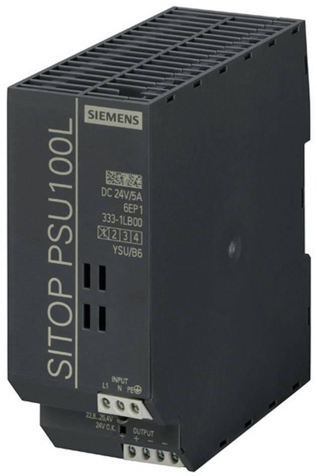 Sieťový zdroj na montážnu lištu (DIN lištu) Siemens SITOP PSU100L 24 V/5 A, 1 x, 24 V/DC, 5 A, 120 W