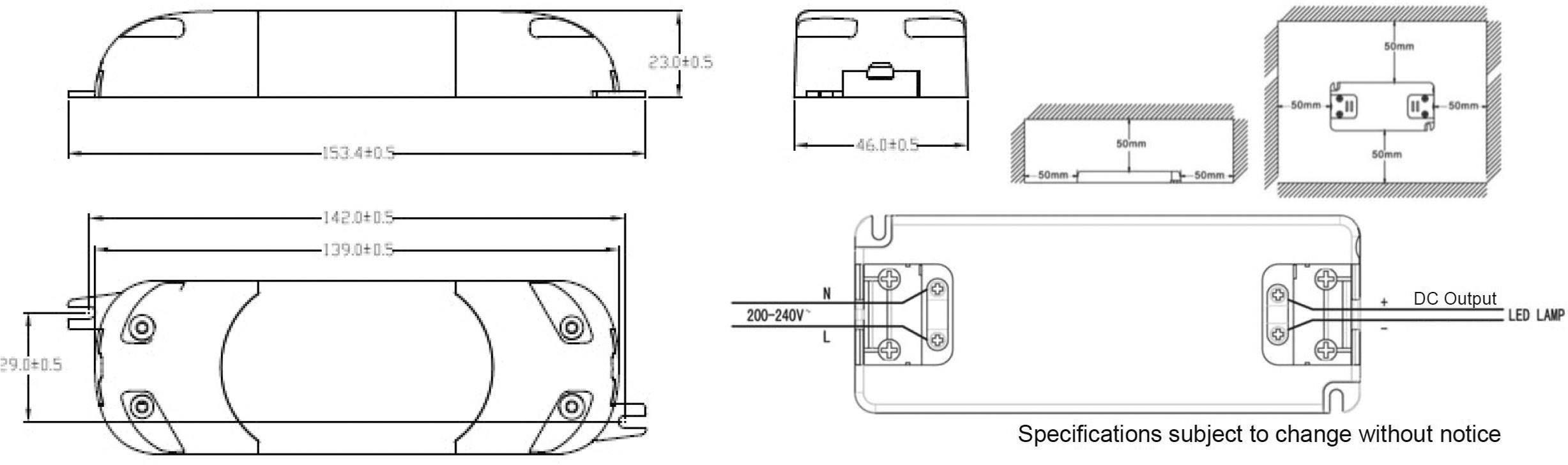 Napájací zdroj pre LED Dehner Elektronik LED 24V20W-MM, 20 W (max), 0 - 0.83 A, 24 V/DC