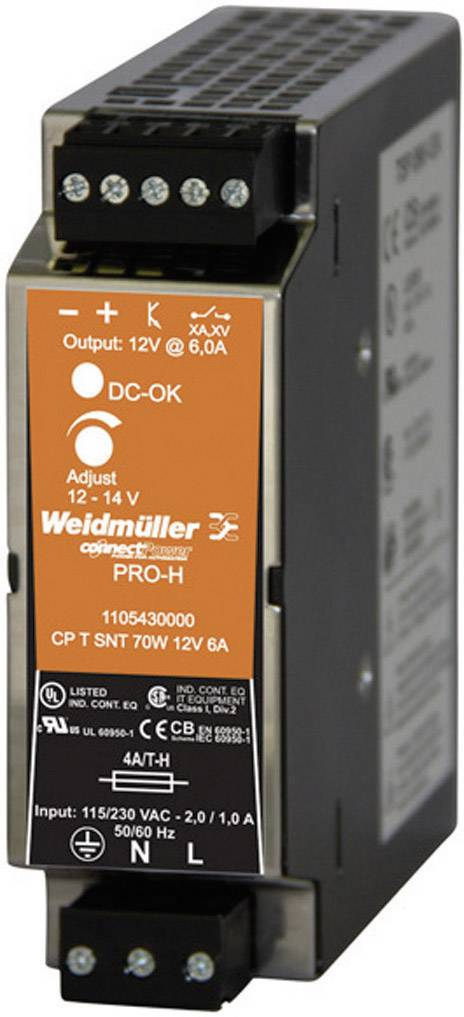 Zdroj na DIN lištu Weidmüller CP T SNT, 1105430000, 6 A, 12 - 14 V/DC