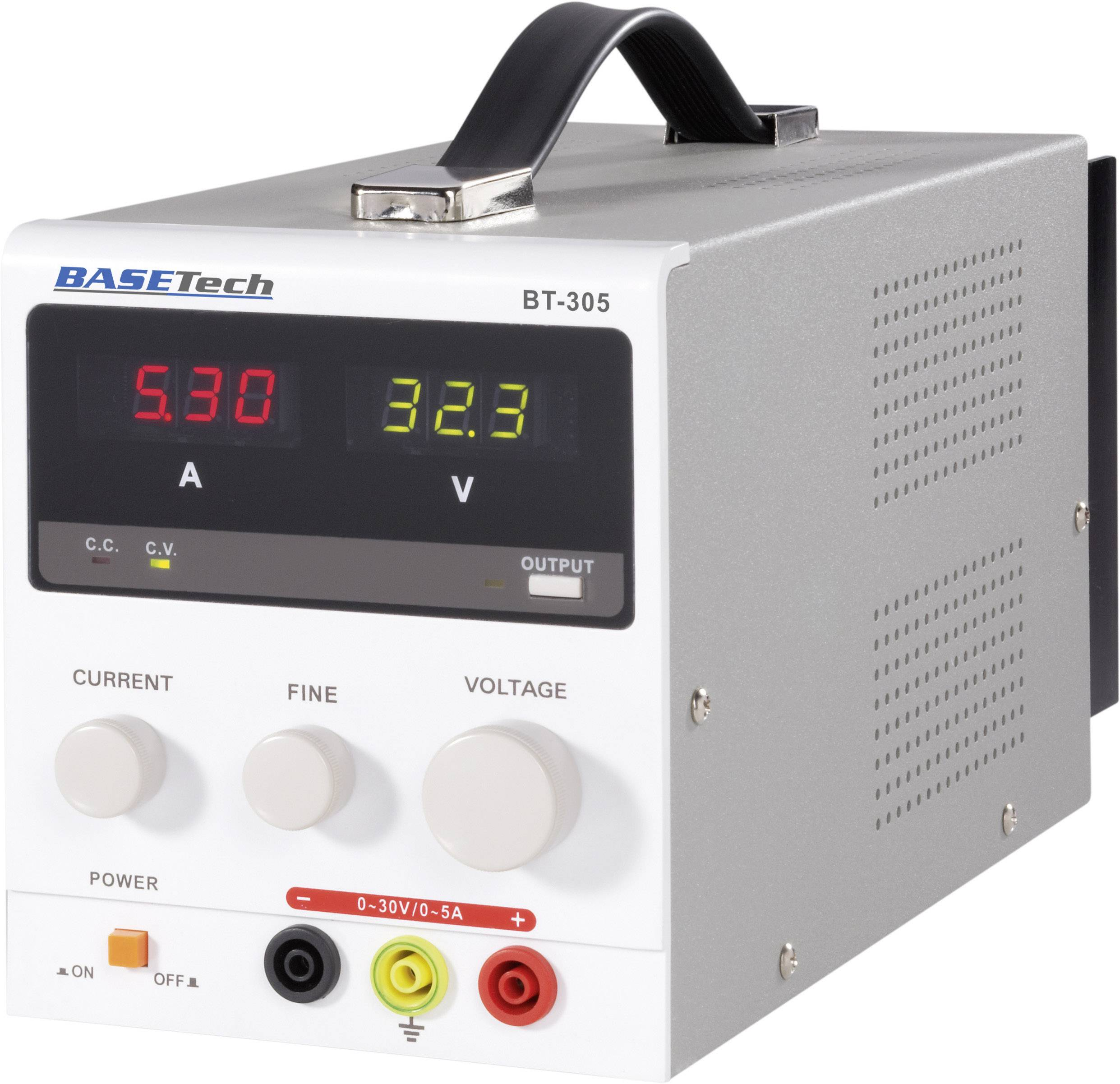 Laboratórny sieťový zdroj BASETech BT-305, 0 - 30 V/DC, 0 - 5 A