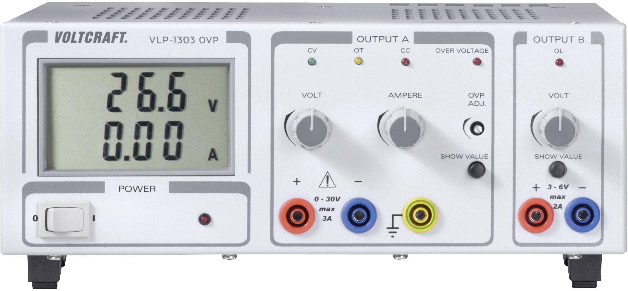 Lineárny laboratórny sieťový zdroj Voltcraft VLP 1303 OVP, 0 - 30 V, 0 - 3 A