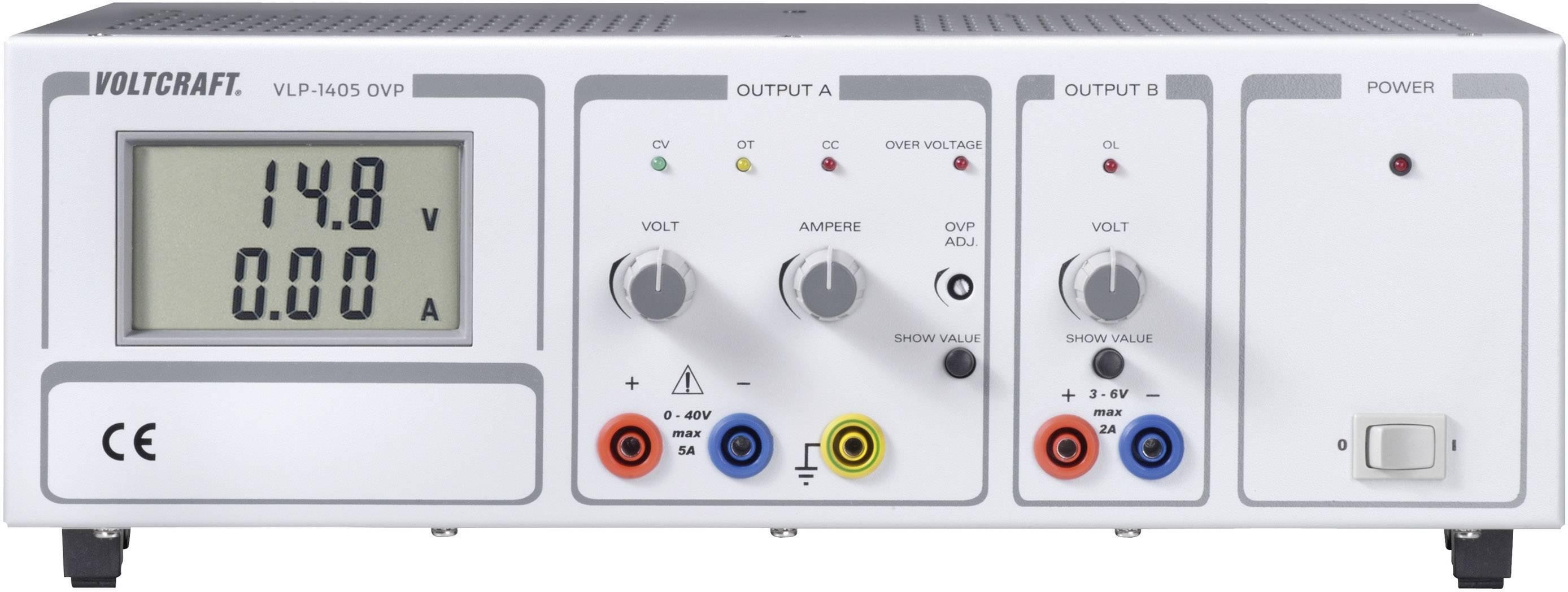Lineárny laboratórny sieťový zdroj Voltcraft VLP 1405 OVP, 0 - 40 V, 0 - 5 A