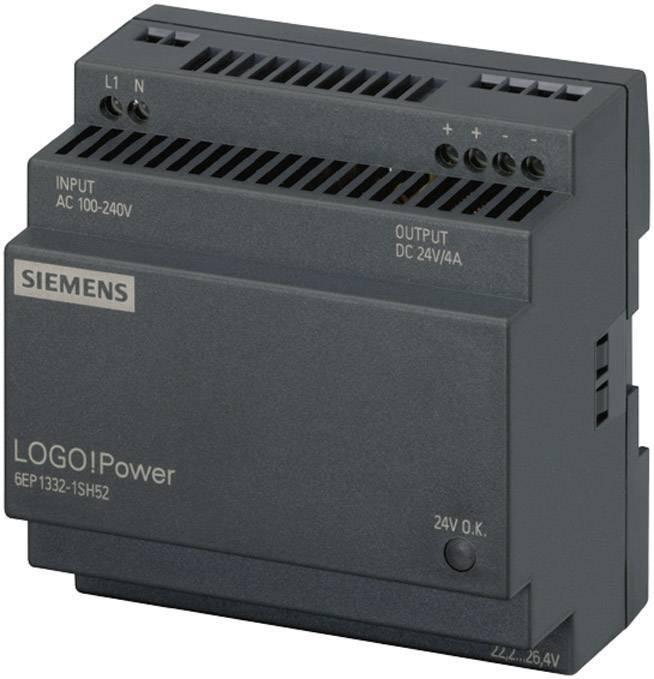 Sieťový zdroj na montážnu lištu (DIN lištu) Siemens LOGO!Power 24 V/4 A, 1 x, 24 V/DC, 4 A, 96 W