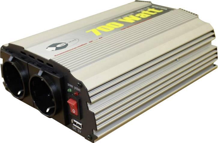 Trapézový měnič napětí e-ast CL700-D-12 z 12 V/DC na 230 V/AC, 5 V/DC, 700 W, USB