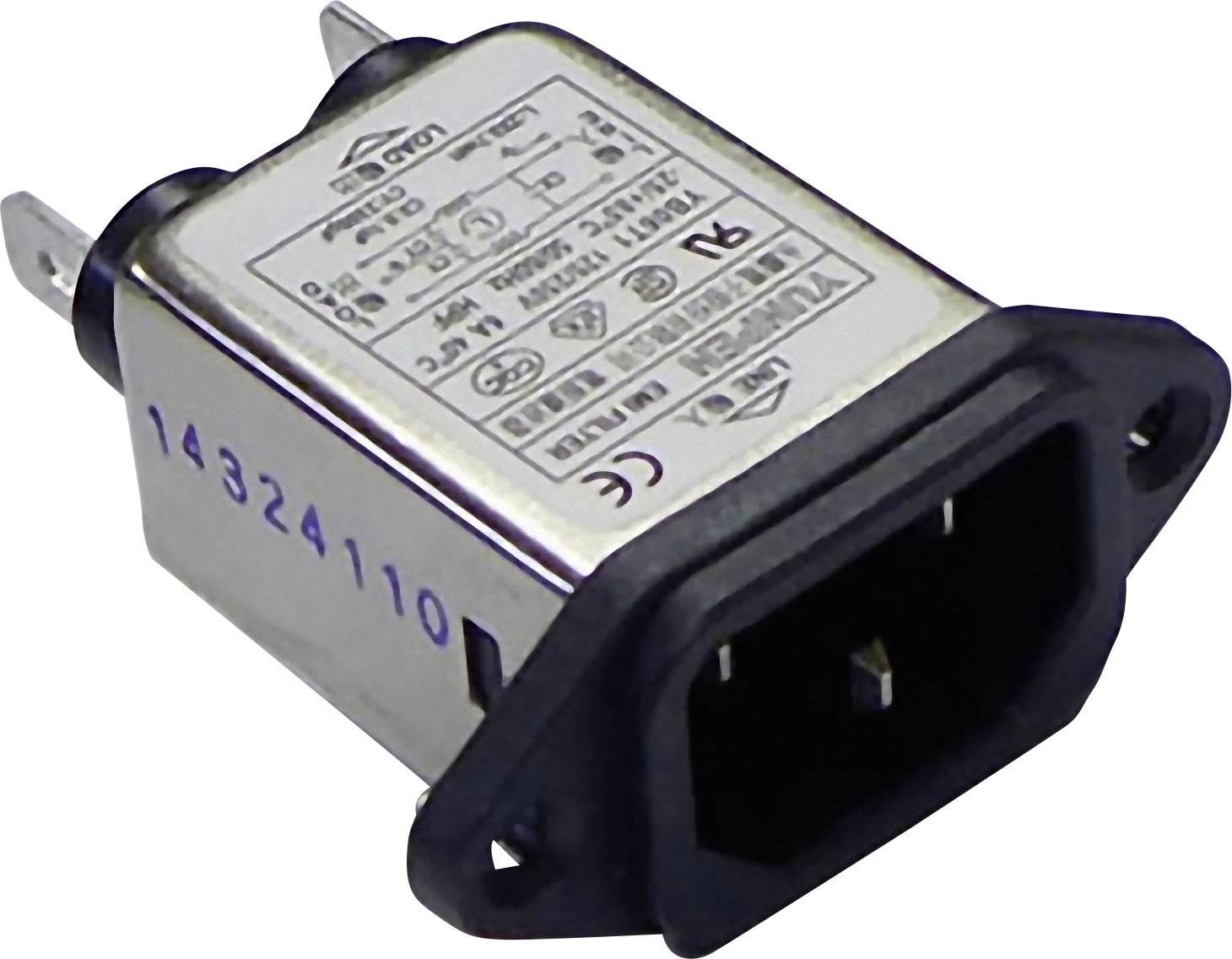 Sieťový filter Yunpen YB06T1 515051, s IEC zásuvkou, 250 V/AC, 6 A, 0.7 mH, (d x š x v) 57 x 25.25 x 52.3 mm, 1 ks