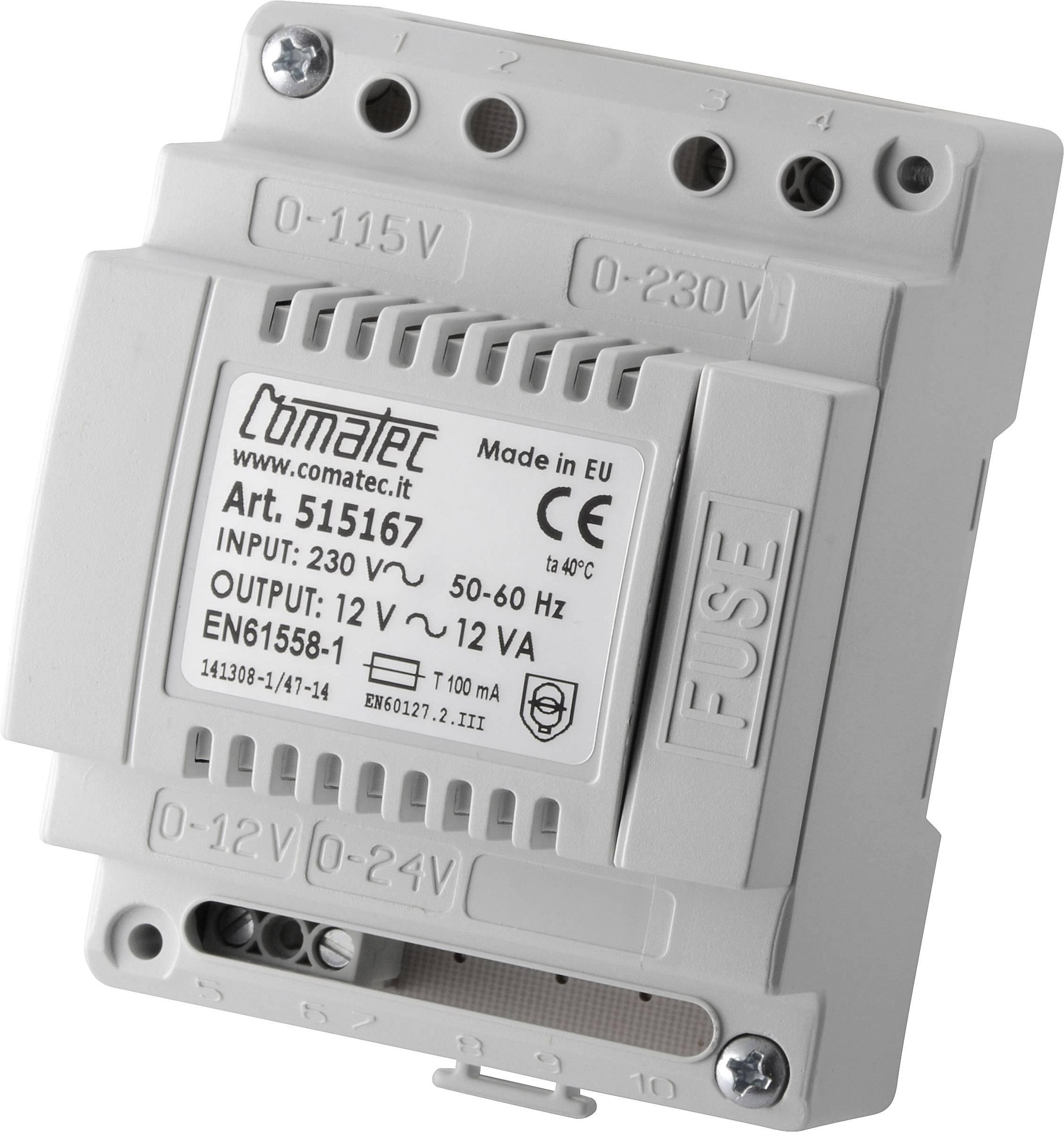 Sieťový zdroj na montážnu lištu (DIN lištu) Comatec TRAFO 12VA 12V, 12 V/AC, 1 A, 12 W