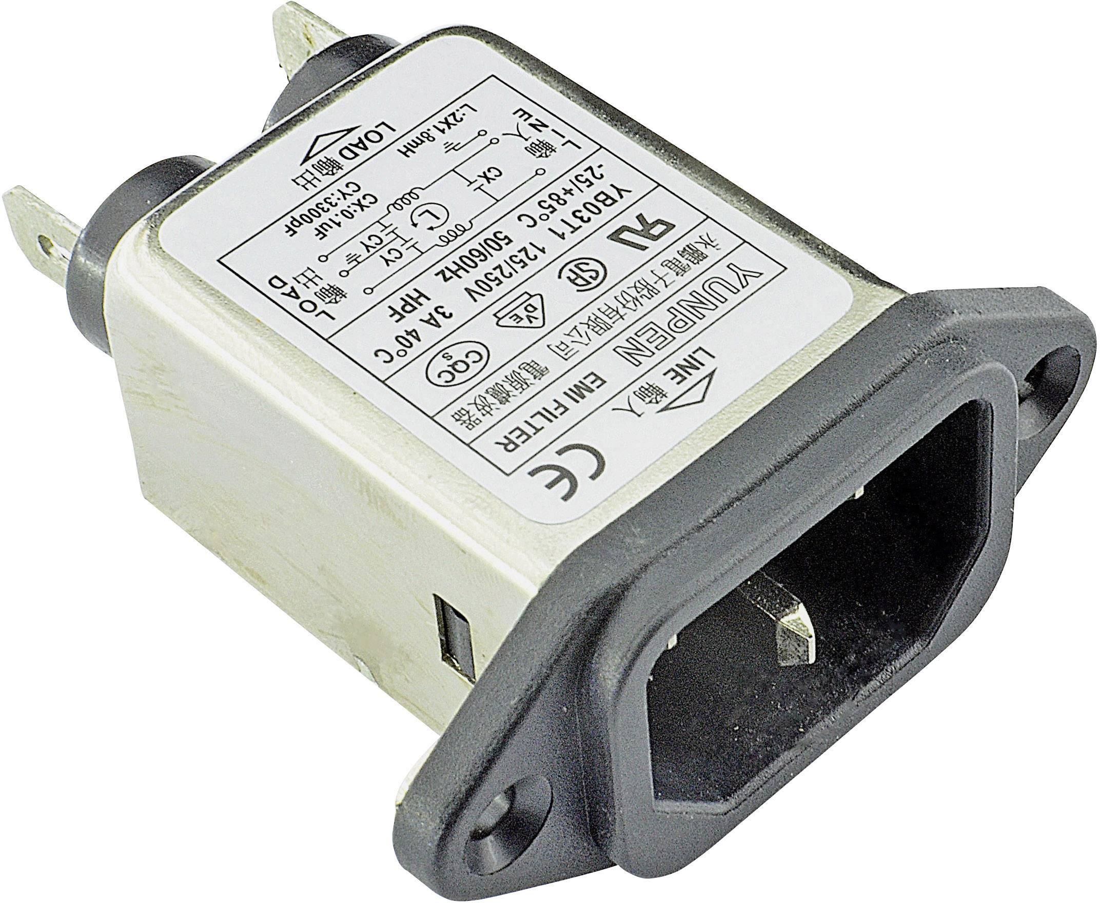 Sieťový filter Yunpen YB03T1 515442, s IEC zásuvkou, 250 V/AC, 3 A, 1.8 mH, (d x š x v) 57 x 25.25 x 52.3 mm, 1 ks