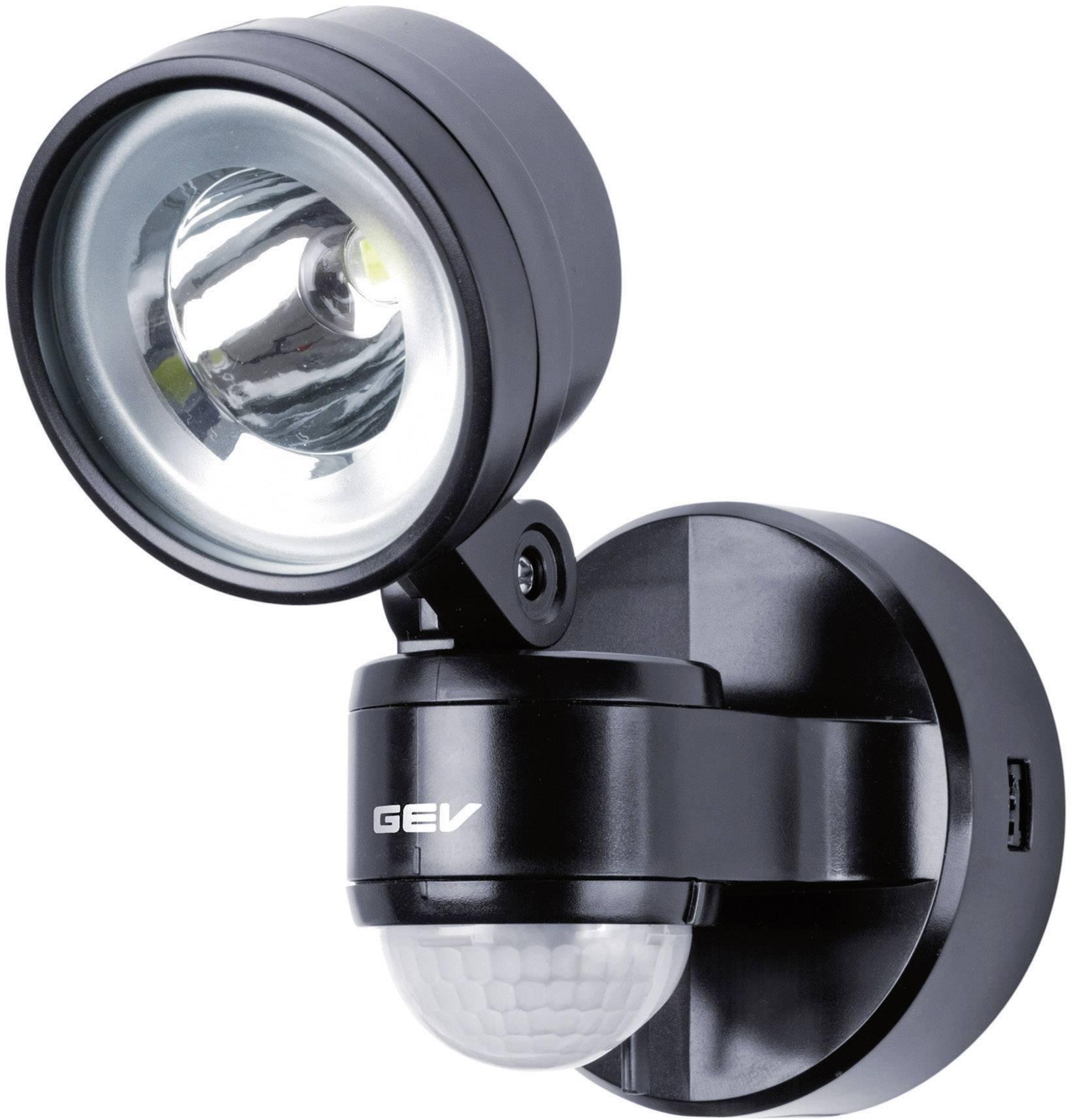 LEDvonkajšieosvetlenie s PIR senzorom GEV LLL 14701 014701, 4 W, neutrálne biela, čierna