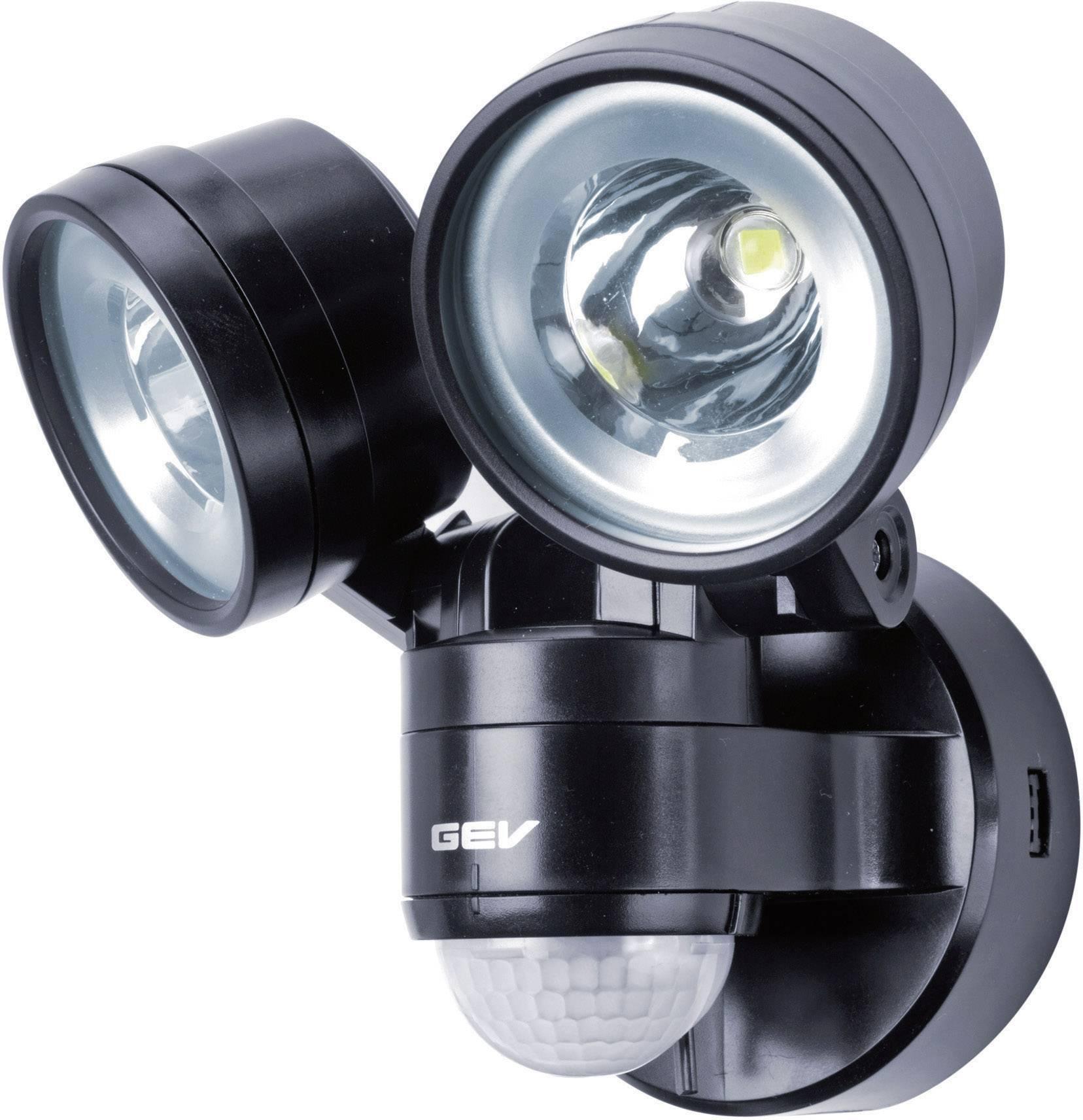 LEDvonkajšieosvetlenie s PIR senzorom GEV Duo LLL 14718 014718, 8 W, neutrálne biela, čierna