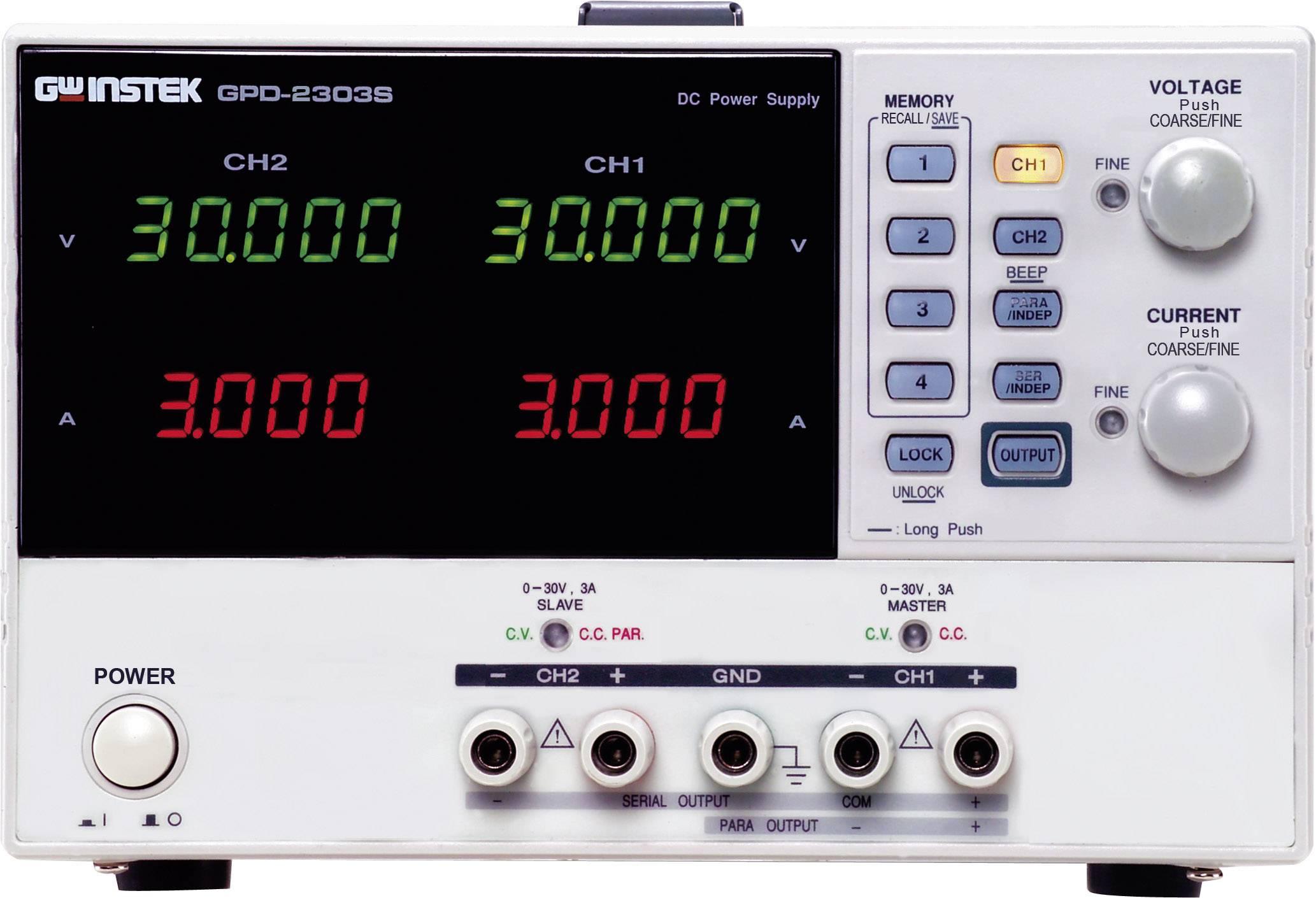 Laboratorní síťový zdroj GW Instek GPD-2303S, 0 - 30 V/DC, 0 - 3 A, 180 W, 2x USB výstup