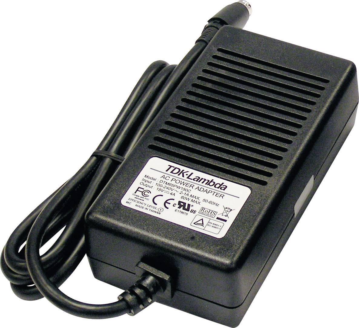 Síťový adaptér TDK-Lambda DTM65PW180C, 18 VDC, 65 W