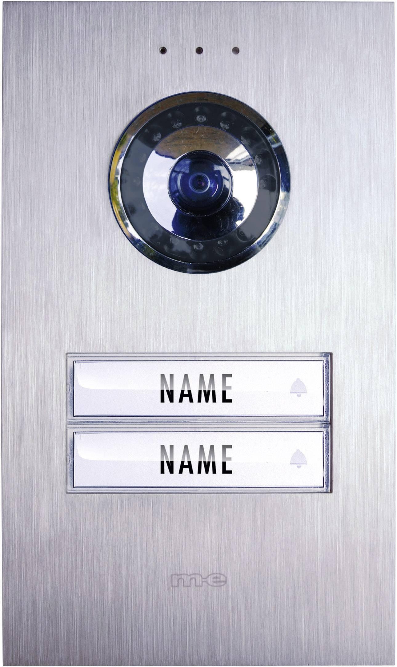 Video dverový telefón káblový m-e modern-electronics VDV 620 compact pre pre 2 domácnosti nerezová oceľ