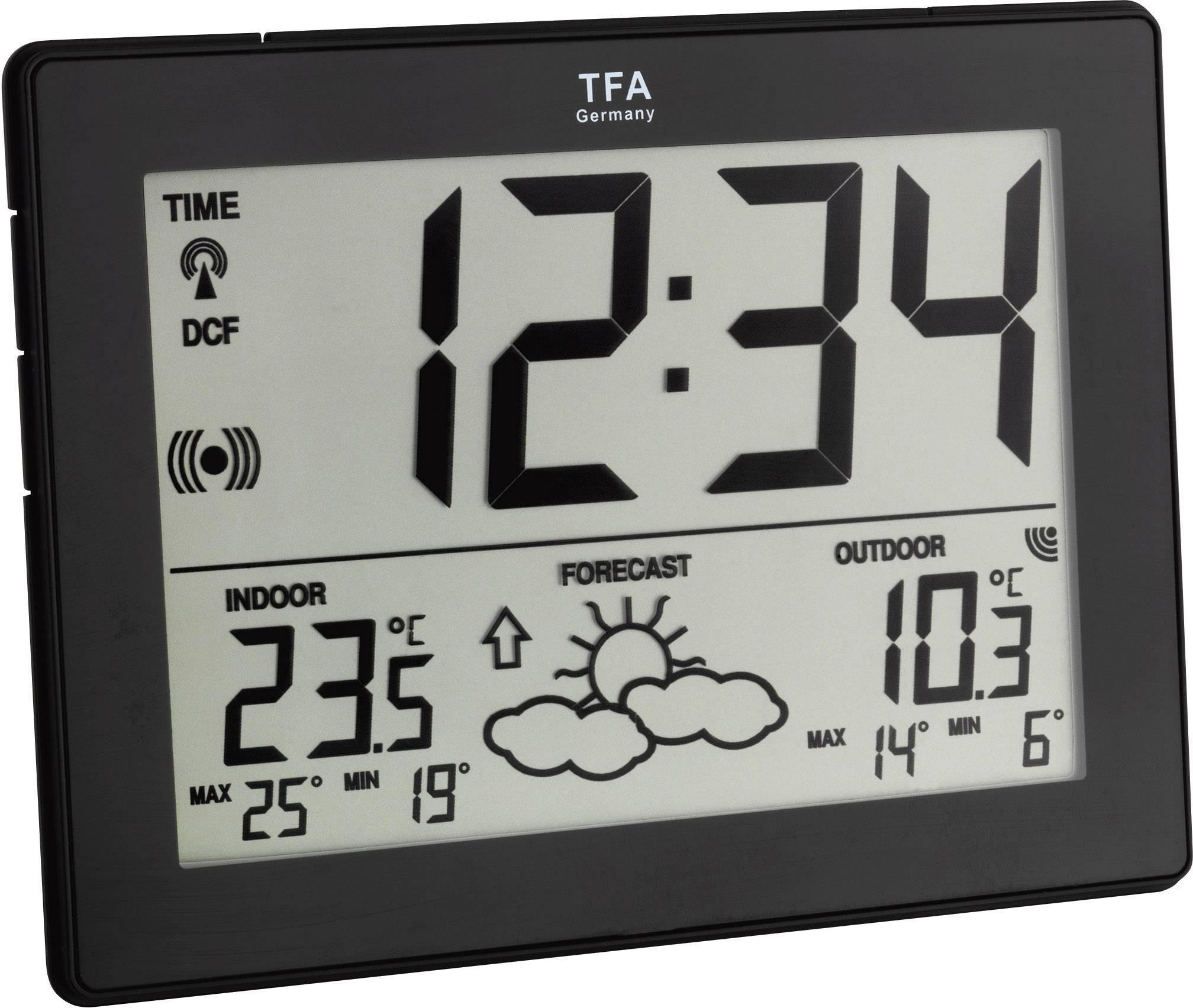 Digitálna bezdrôtová meteostanica s DCF hodinami, TFA 35-1125-01-IT, čierna