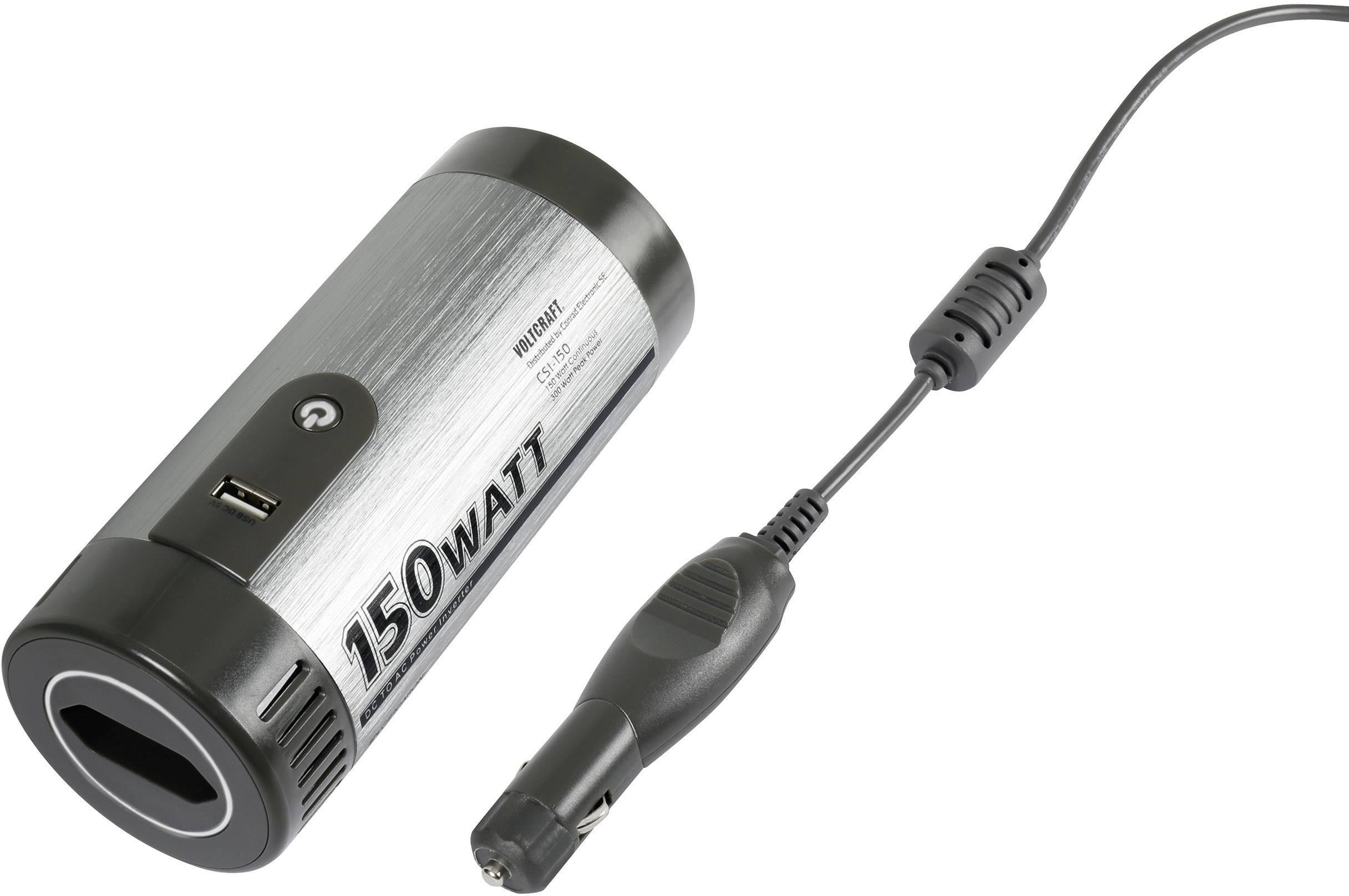 Menič napätia DC / AC s USB, VOLTCRAFT CSI-150, 150 W, vstup.napätie 12 V/DC