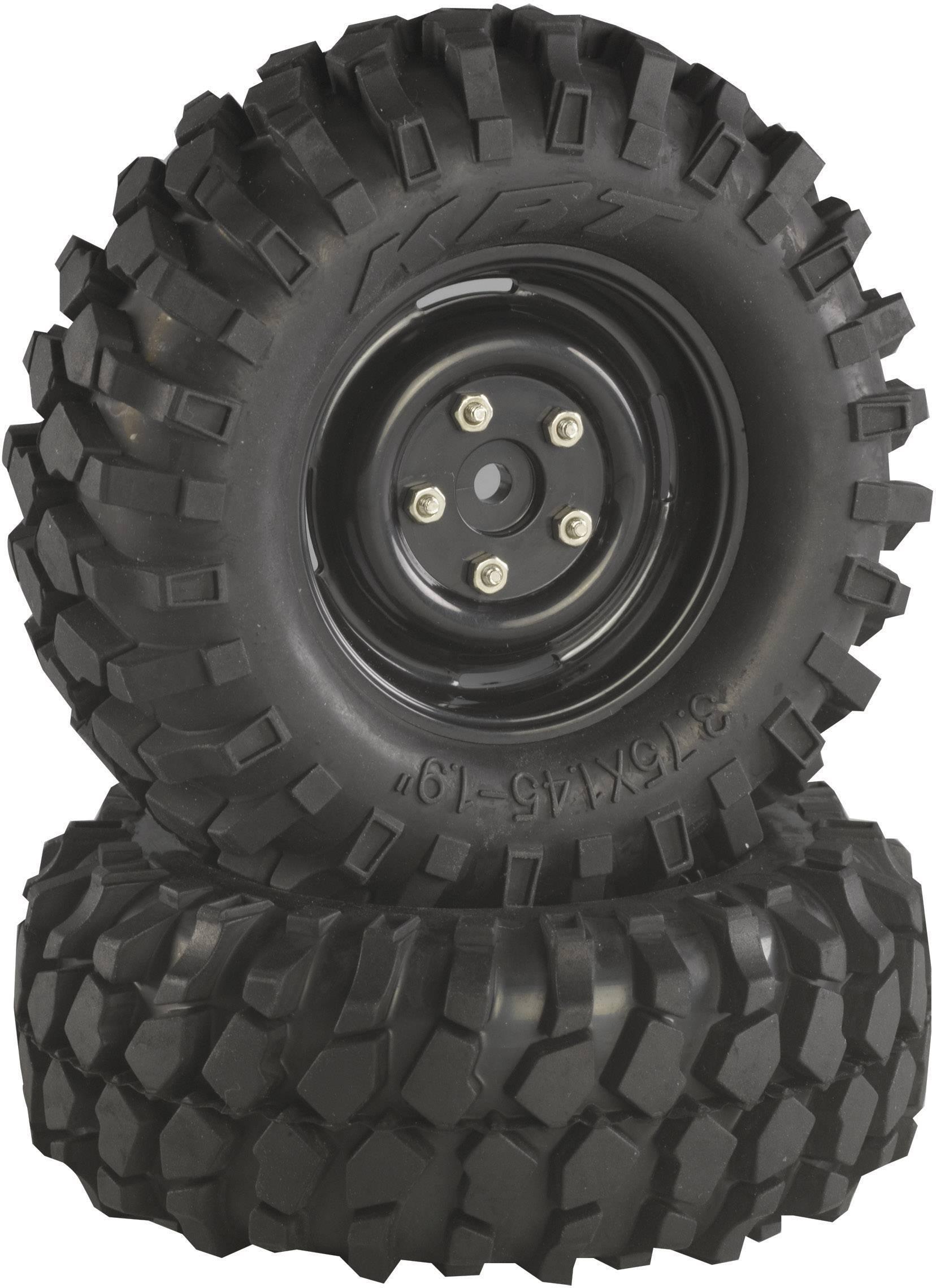 Kompletné kolesá Offroad V Block Absima 2500031 pre crawler, 96 mm, 1:10, 2 ks, čierna
