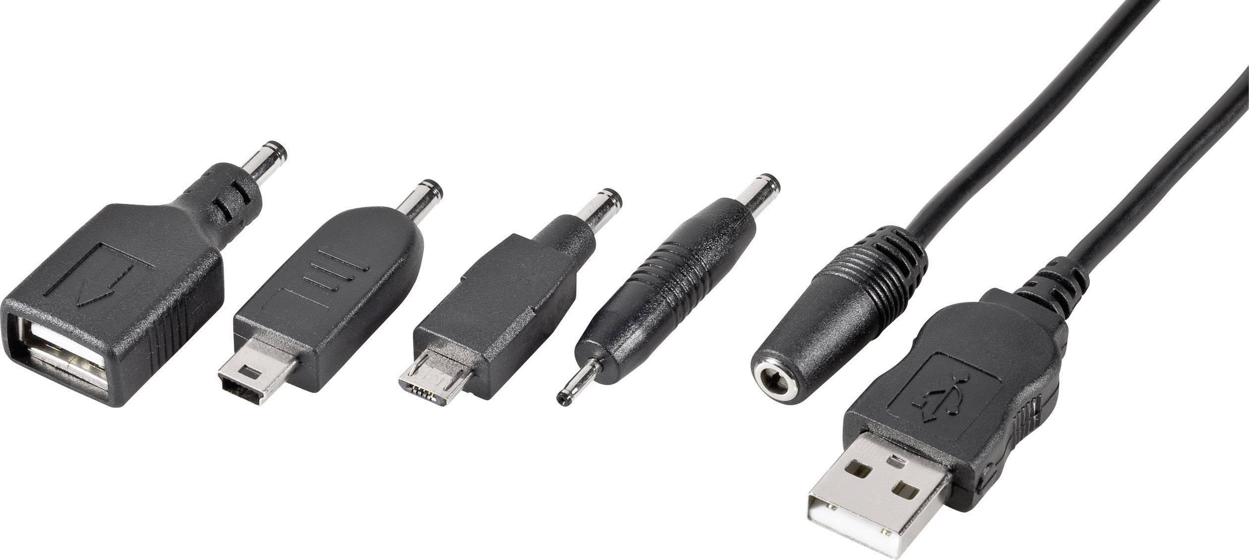 Káblový adaptér pre mobilný telefón VOLTCRAFT DO-55, [1x USB 2.0 zástrčka A - 5x USB 2.0 zásuvka A, mini A USB zástrčka, micro USB zástrčka, Nokia 2 mm konektor], 1 m, čierna