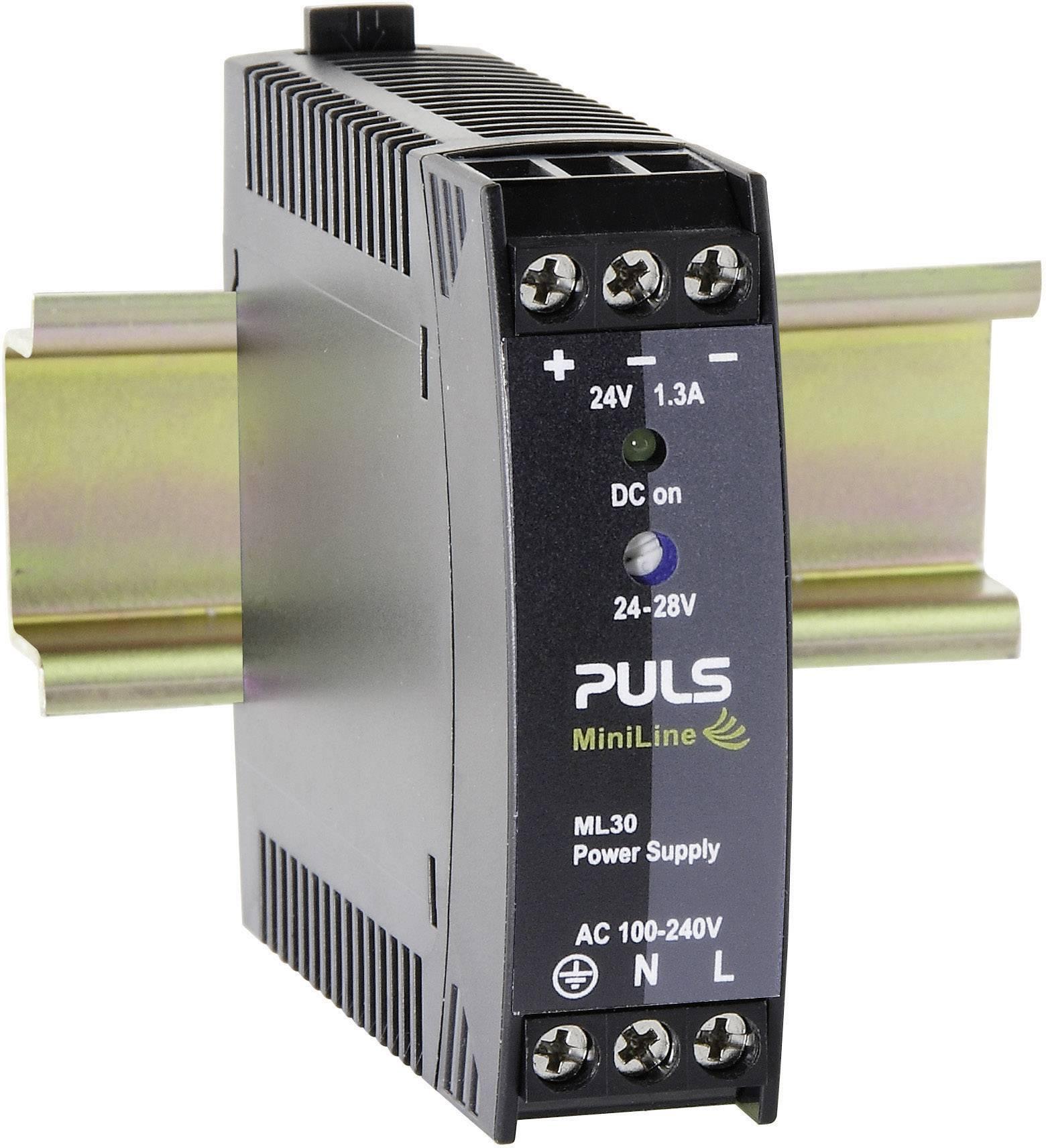 Sieťový zdroj na montážnu lištu (DIN lištu) PULS MiniLine ML30.241, 1 x, 24 V/DC, 1.3 A, 30 W