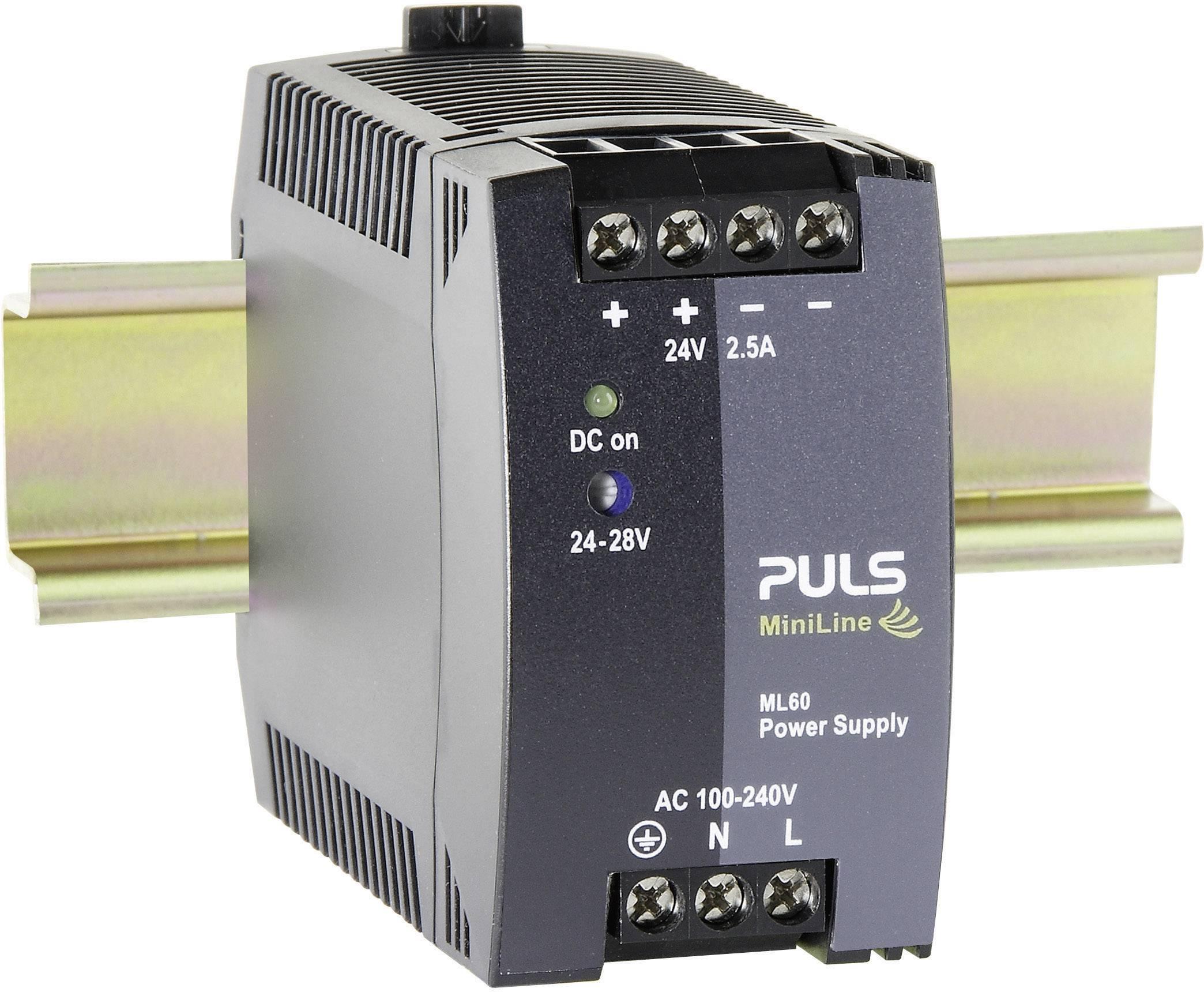 Sieťový zdroj na montážnu lištu (DIN lištu) PULS MiniLine ML60.241, 1 x, 24 V/DC, 2.5 A, 60 W