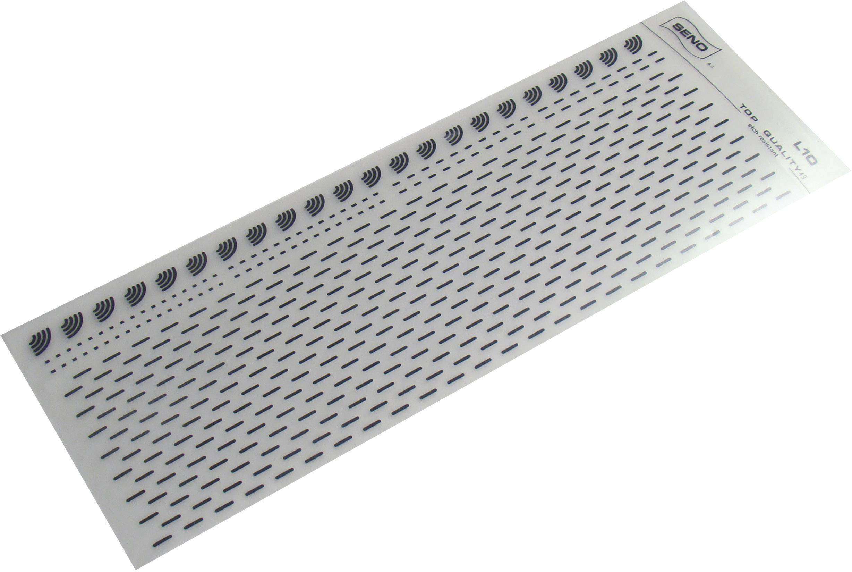 Značky pro plošné spoje SENO, oblouky a krátké čáry, tloušťka 0,5 mm, černá