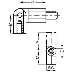 Kloubový čep, vnější/vnitřní závit M3, otvor klíče 5,5 mm