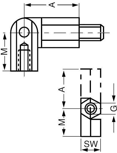 Kloubový čep - závit M3 vnitřní/vnitřní, otvor klíče 5,5