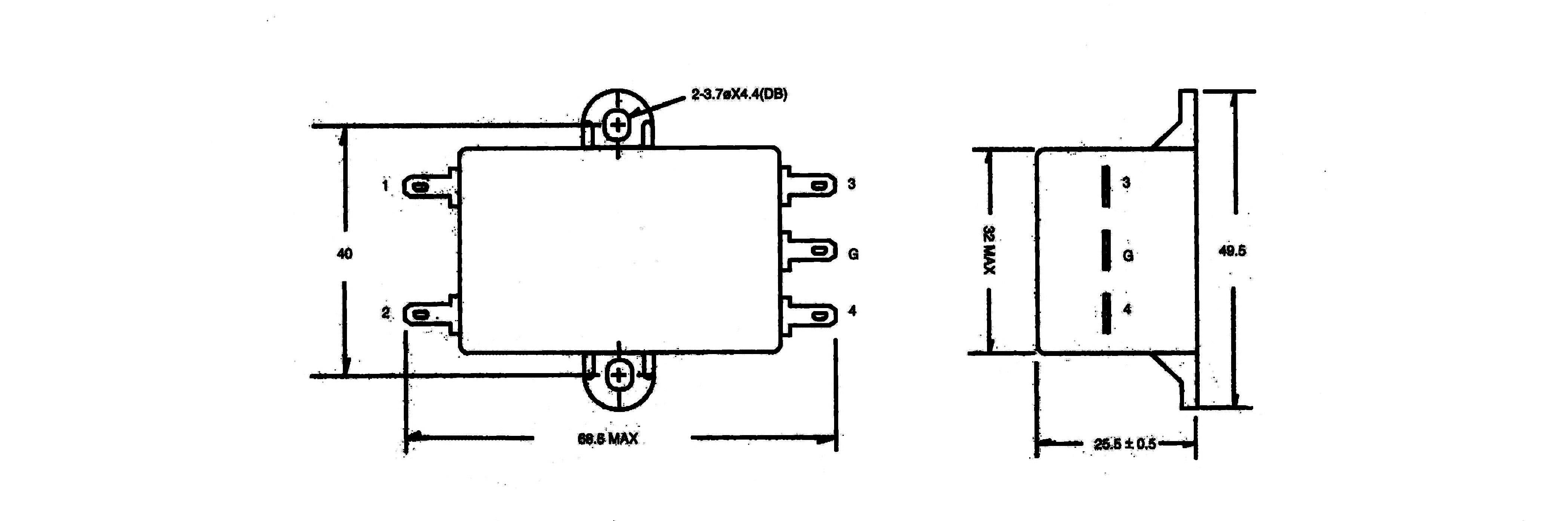 Odrušovací filter Yunpen YG10T5 521349, 250 V/AC, 10 A, 0.3 mH, (d x š x v) 68 x 55 x 25 mm, 1 ks