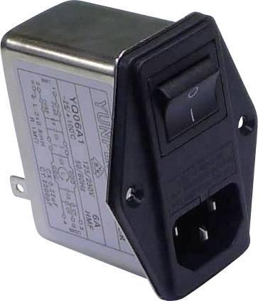Sieťový filter Yunpen YQ06A1 521314, s IEC zásuvkou, so spínačom, s dvoma poistkami, 250 V/AC, 6 A, 0.8 mH, (d x š x v) 68 x 52.5 x 61 mm, 1 ks