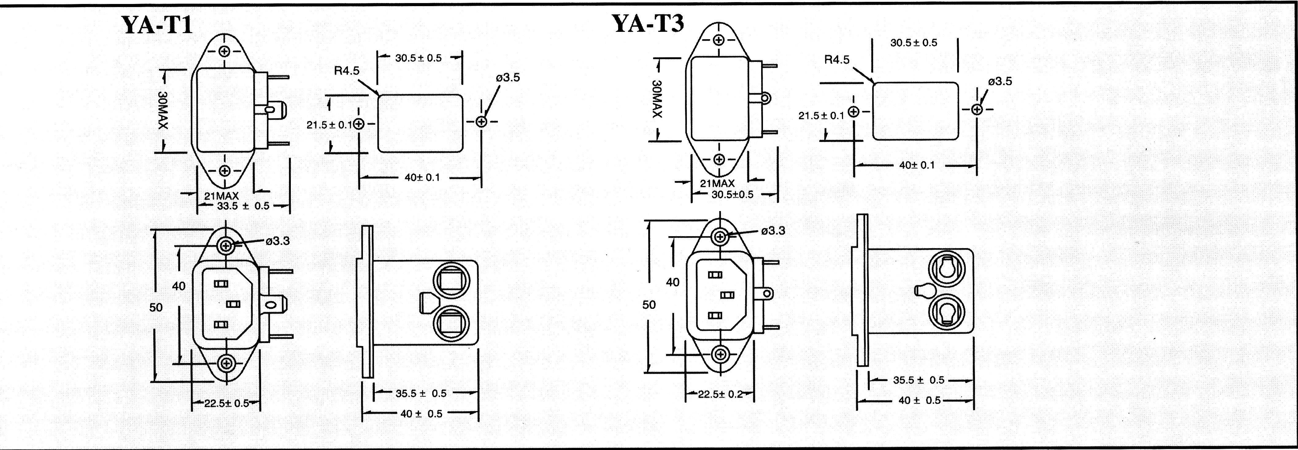 Sieťový filter Yunpen YA03T1 YA03T1, s IEC zásuvkou, 250 V/AC, 3 A, 1.8 mH, (d x š x v) 41.7 x 50 x 34 mm, 1 ks