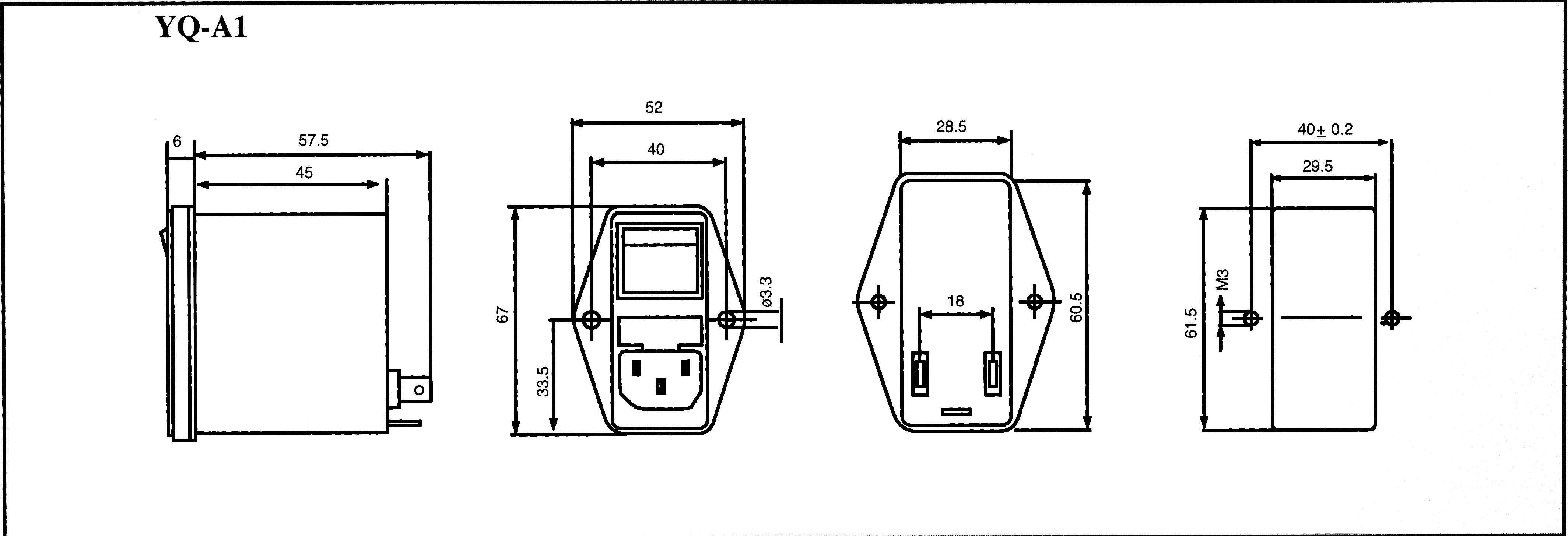 Sieťový filter Yunpen YQ02A1 521374, s IEC zásuvkou, so spínačom, s dvoma poistkami, 250 V/AC, 2 A, 4.6 mH, (d x š x v) 68 x 52.5 x 61 mm, 1 ks