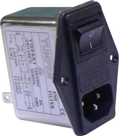 Sieťový filter Yunpen YQ04A1 521386, s IEC zásuvkou, so spínačom, s dvoma poistkami, 250 V/AC, 4 A, 2.5 mH, (d x š x v) 68 x 52.5 x 61 mm, 1 ks