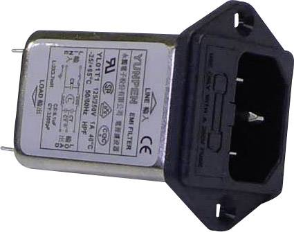 Síťový filtr Yunpen YL01T1, 2 x 3,7 mH, 125/250 V/AC, (50/60 Hz), 1 A