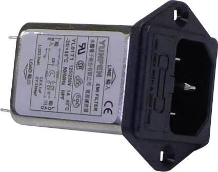 Sieťový filter Yunpen YL01T1 521461, s IEC zásuvkou, s poistkou, 250 V/AC, 1 A, 3.7 mH, (d x š x v) 60 x 45 x 33.5 mm, 1 ks