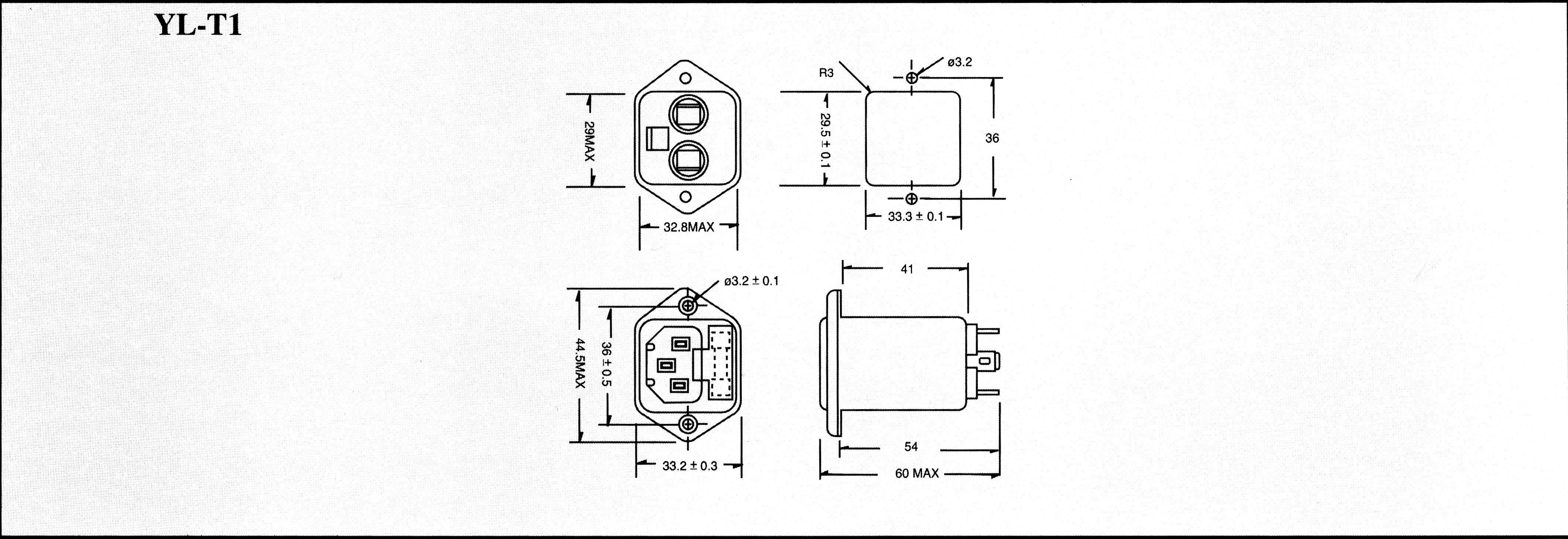 Síťový filtr Yunpen YL03T1, 2 x 1,8 mH, 125/250 V/AC, (50/60 Hz,) 3 A