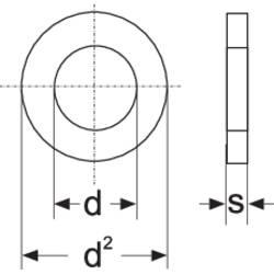 Podložka plochá TOOLCRAFT 188710, vnútorný Ø: 4.3 mm, nerezová ocel, 100 ks