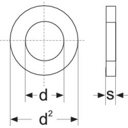 Podložka plochá TOOLCRAFT A5,3 D125-A2 194695, vnější Ø: 10 mm, vnitřní Ø: 5,3 mm