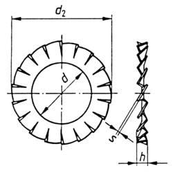 Vějířovité podložky TOOLCRAFT A5,1 D6798 194755 DIN 6798, Ø: 5,3 mm, 100 ks