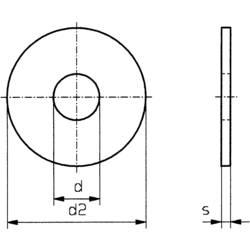 Podložka plochá TOOLCRAFT 194717, vnútorný Ø: 4.3 mm, nerezová ocel, 100 ks