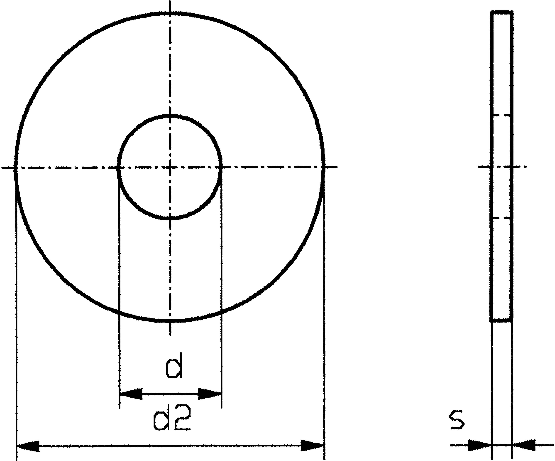 Podložka plochá TOOLCRAFT 6,4 D9021-A2 192701, DIN 9021, vnější Ø 18 mm, vnitřní Ø 6,4 mm