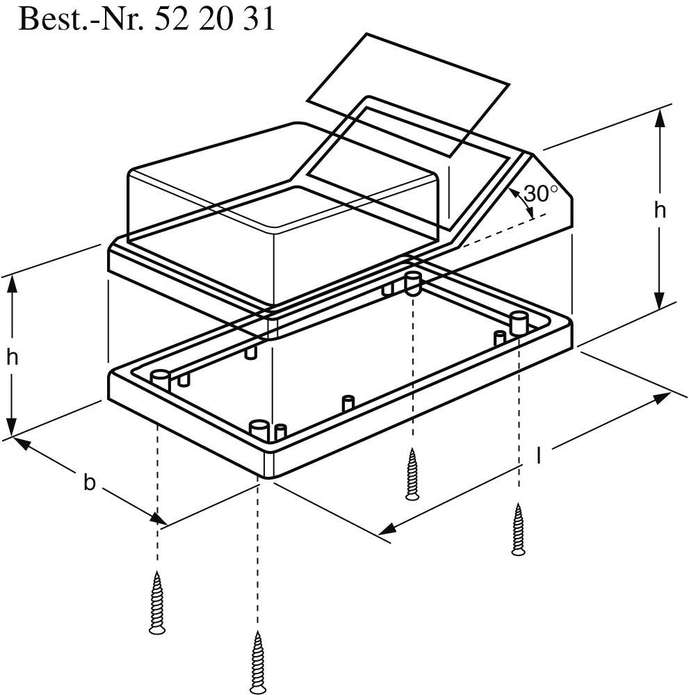 Skrinka na ovládací pult TEKO TENCLOS-PULT, 145 x 85 x 73 mm, ABS, hliník, čierna, strieborná, 1 ks