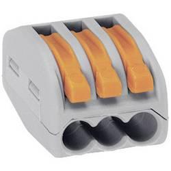 Káblová svorka WAGO 222 na kábel s rozmerom 0.08-4 mm², pólů 3, 1 ks, sivá, oranžová