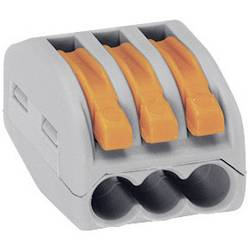 Káblová svorka WAGO 222 na kábel s rozmerom 0.08-4 mm², pólů 3, 50 ks, sivá, oranžová
