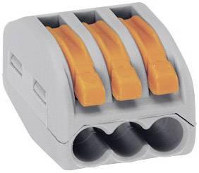Krabicová svorkovnica WAGO 222 222-413 na kábel s rozmerom 0.08-4 mm², tuhosť 0.08-2.5 mm², počet pinov 3, 1 ks, sivá, oranžová