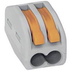 Krabicová svorkovnica WAGO 222 na kábel s rozmerom 0.08-4 mm², pólů 2, 1 ks, sivá, oranžová