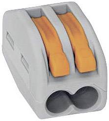 Krabicová svorkovnica WAGO 222 na kábel s rozmerom 0.08-4 mm², pólů 2, 25 ks, sivá, oranžová