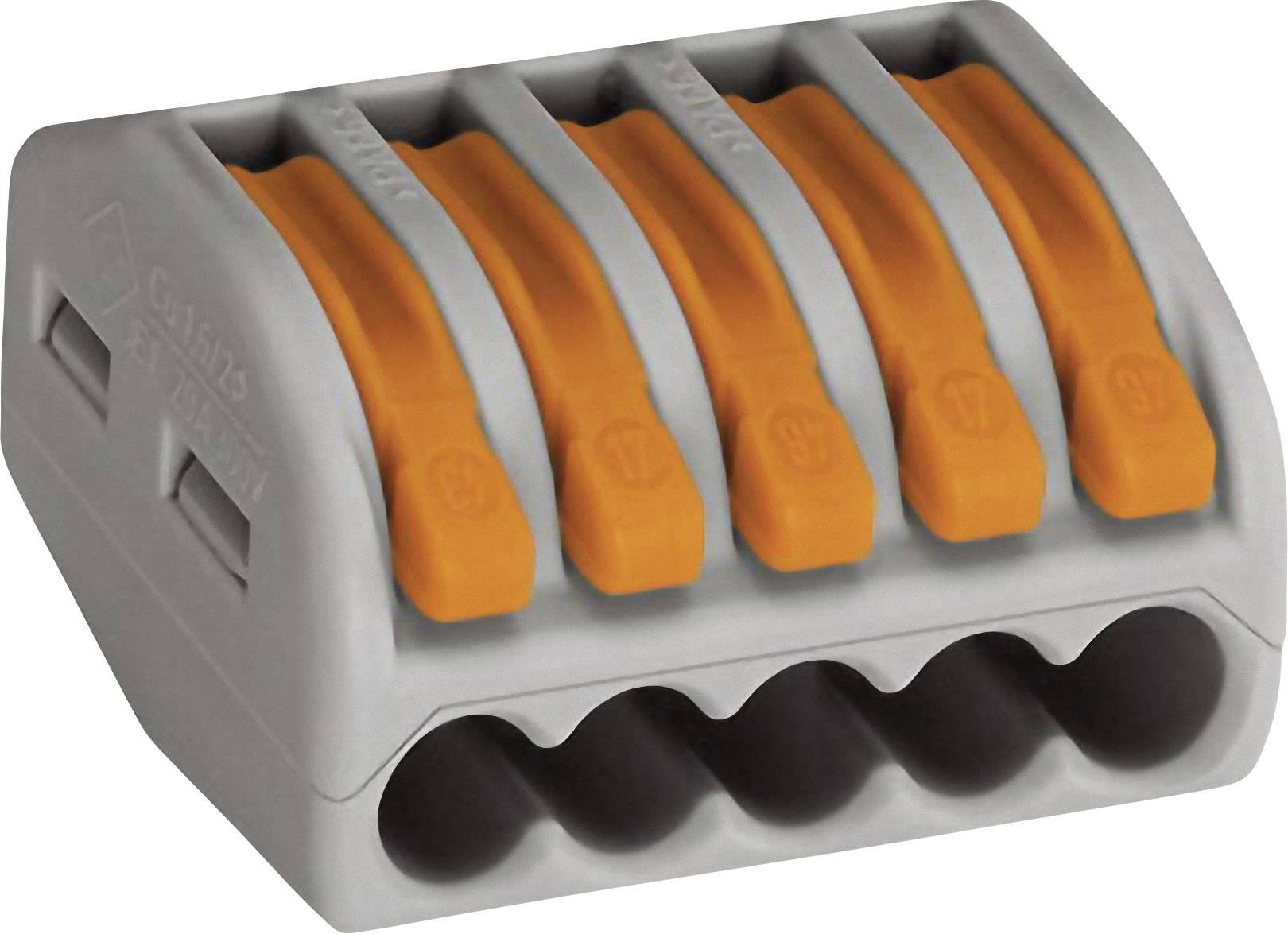 Krabicová svorkovnica WAGO 222 222-415 na kábel s rozmerom 0.08-4 mm², tuhosť 0.08-2.5 mm², počet pinov 5, 1 ks, sivá, oranžová
